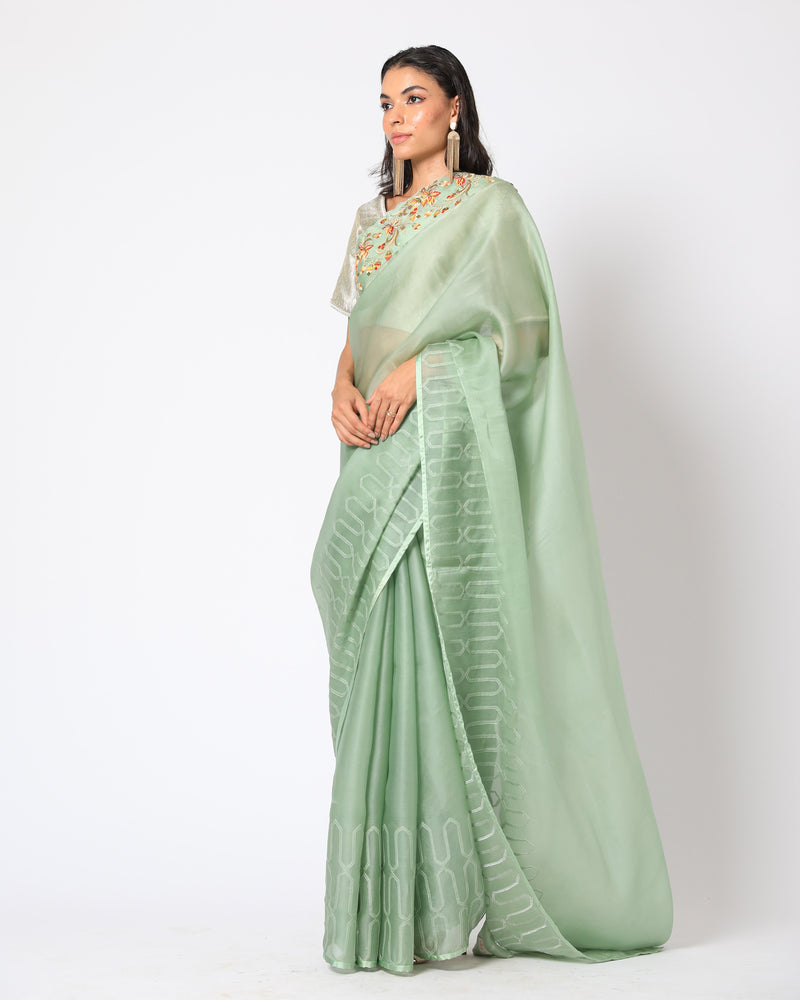 Romaa - Mint Green Embroidered Saree Set