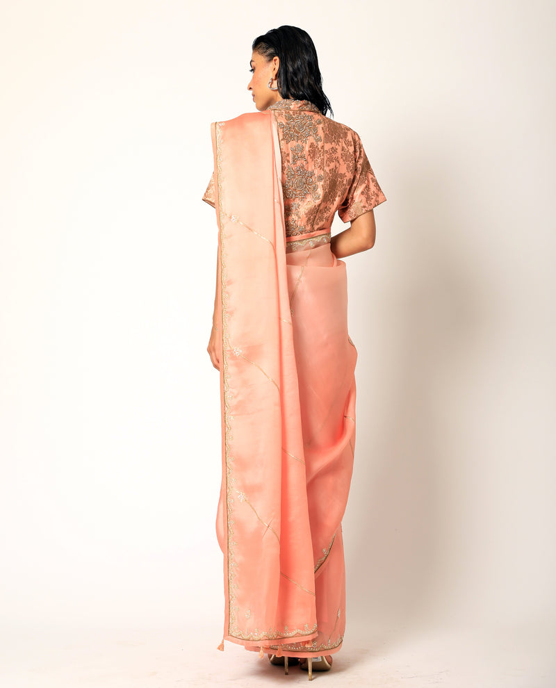Romaa - Coral Embroidered Saree Set