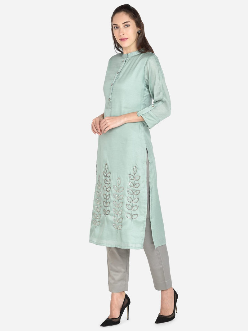 It Way Of Life - Sea Green Solid Woven Kurti