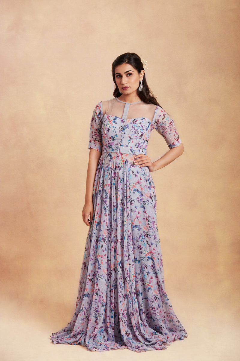 Sanjhana Reddy - Mauve printed anarkali with dupatta