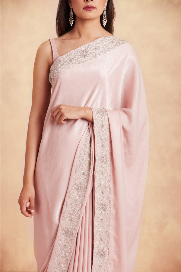 Sanjhana Reddy - Pink hand embroidered saree and blouse