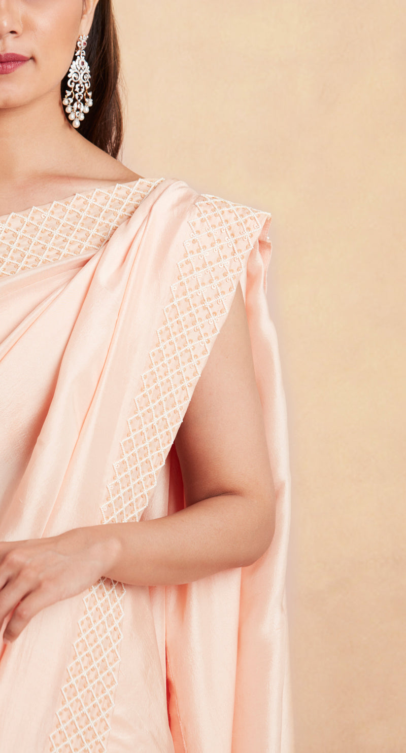 Sanjhana Reddy - Pale orange hand embroidered saree