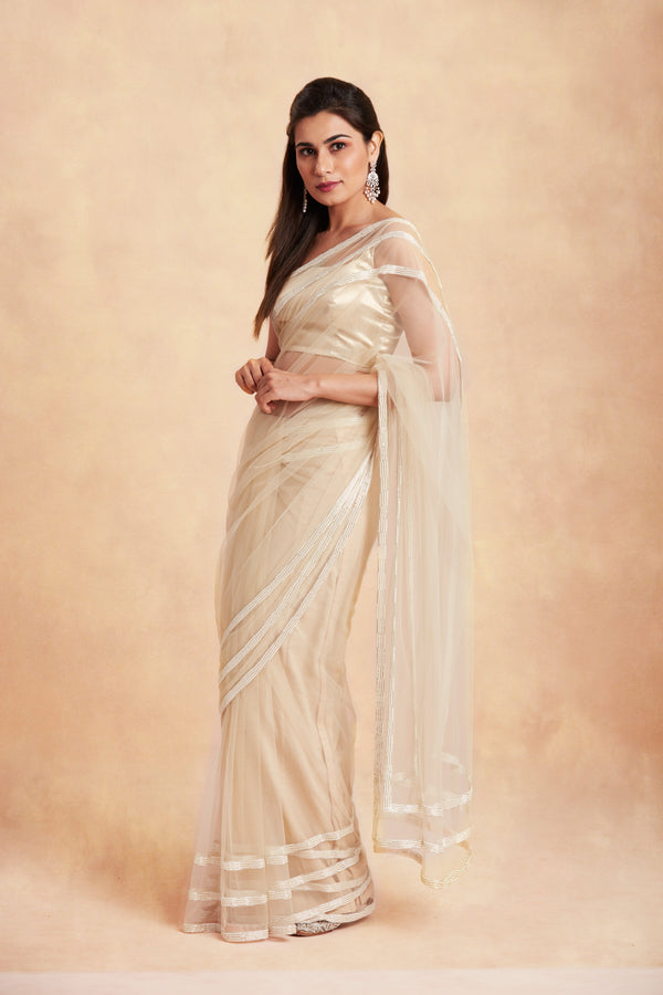 Sanjhana Reddy - Tulle embroidered  ivory saree