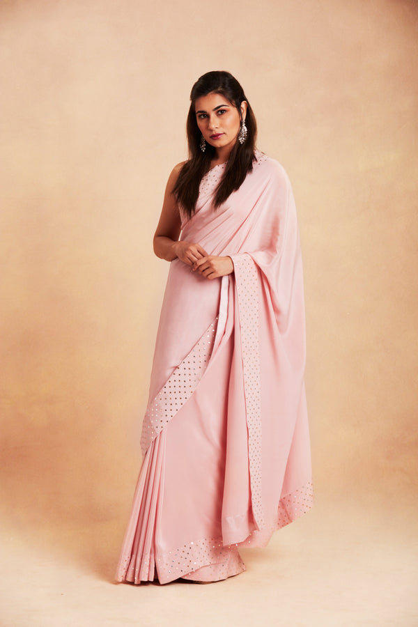 Sanjhana Reddy - Pink badla silk saree