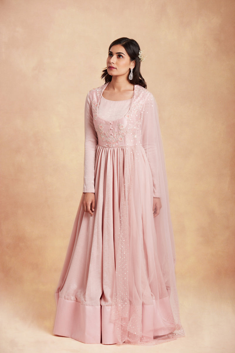 Sanjhana Reddy - Pink hand embroidered anarkali