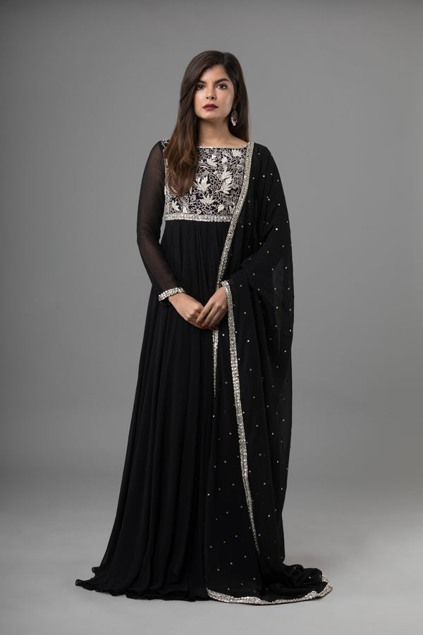 Sanjhana Reddy - Black Anarkali With Delicate Hand Embroidery