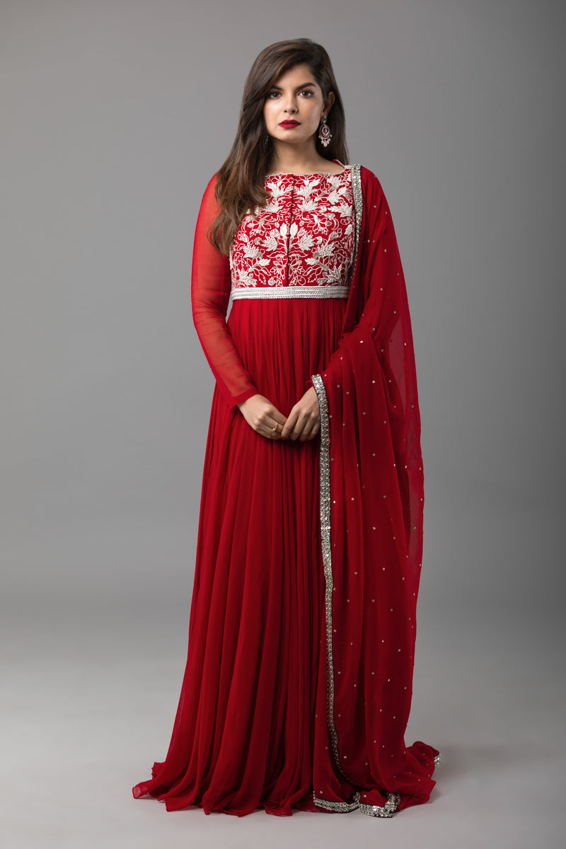 Sanjhana Reddy - Red Embroidered Anarkali