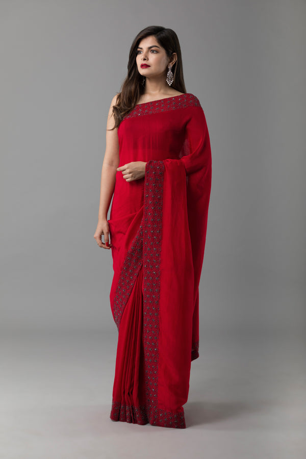 Sanjhana Reddy - Red Dori Saree