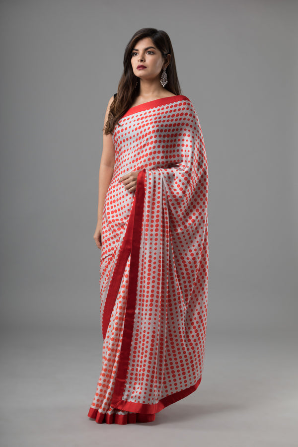 Sanjhana Reddy - Red & White Geometric Print Saree