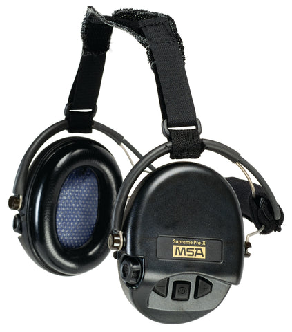 MSA Supreme Pro-X Earmuff With Black Neckband, Black Cups With Gel
