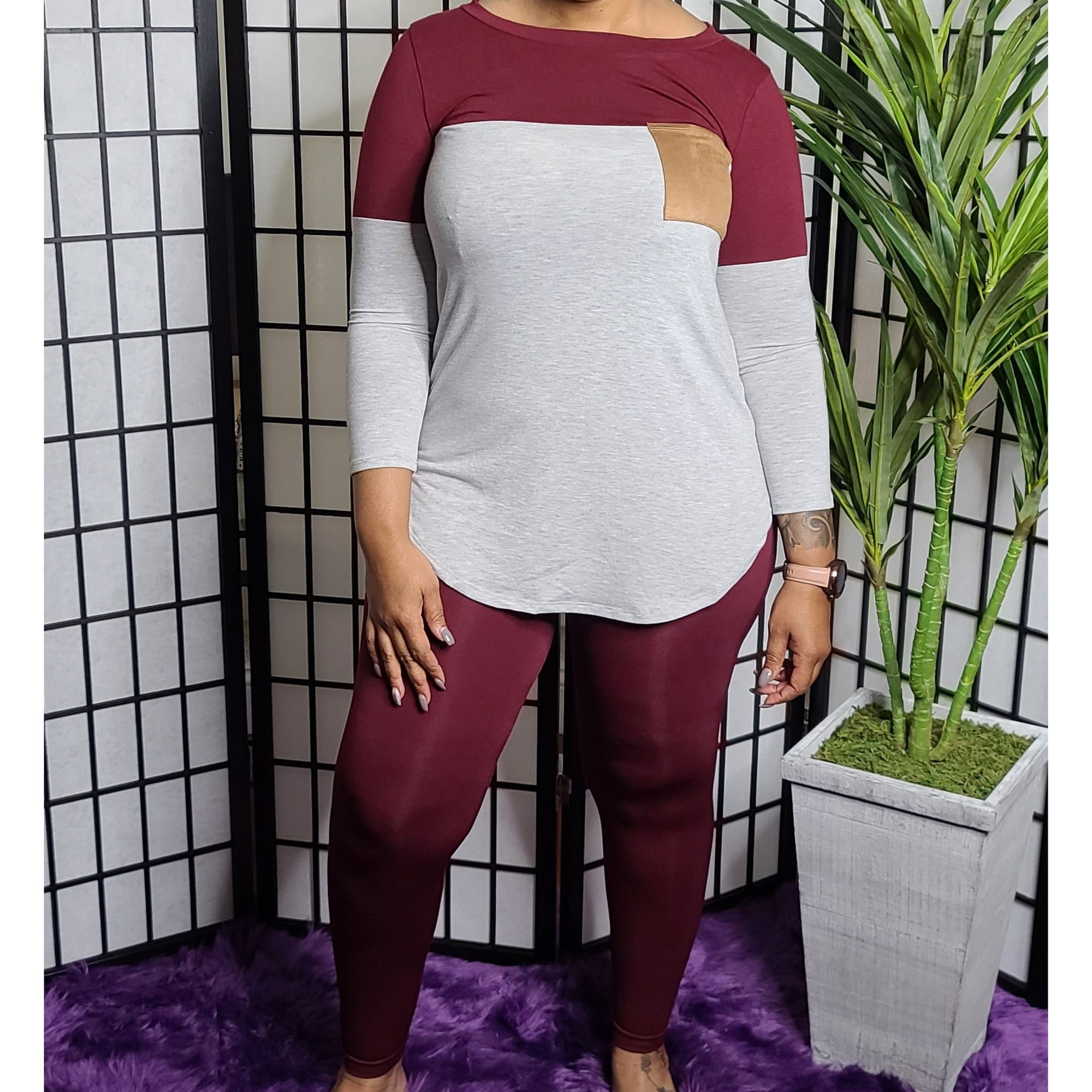 Cam ꟾ Legging Set - Grey/Burgundy