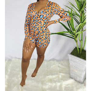 Klassi & Sexi Onesie Pajama Shorts ꟾ Cheetah Orange/Blue