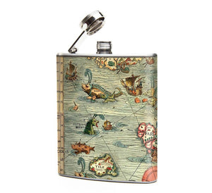Sea Monsters Antique Ocean Map Hip Flask