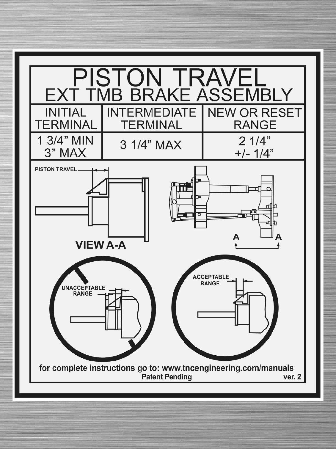 Piston Travel Decal -  EXT TMB Brake Assembly