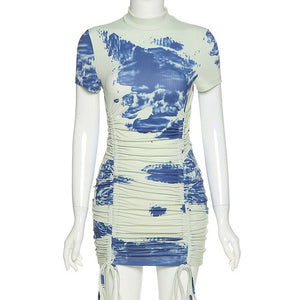 tie dye print short sleeve bandage mini dress