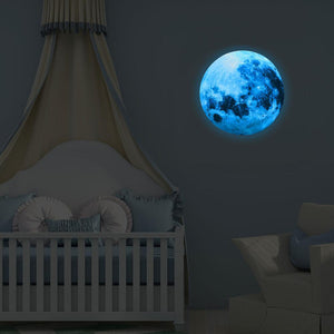 30cm Luminous Blue Moon 3D Wall Sticker living room bedroom decoration for kids room home decals Glow in the dark Wall Stickers