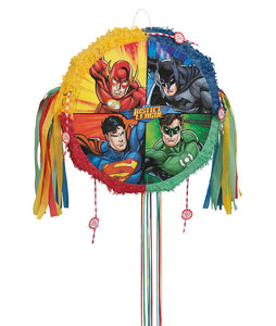 Justice League Drum Pull Pinata - 1 Each or 1 Pack (5 pinatas)