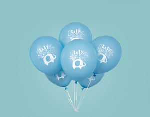 "Blue Floral Elephant 12"" Latex Balloons"
