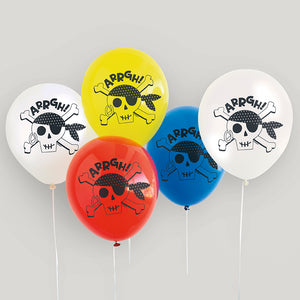 "Ahoy Pirate 12"" Latex Balloons - 8 Balloons/Pack or 12 Packs/Unit"