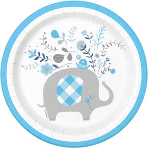 Blue Floral Elephant 7in Plate - 8 Plates/Pack or 96 Plates/Unit