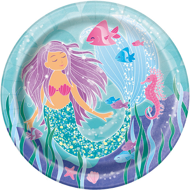 Mermaid 9in Plate - 1 Pack (8 Plates) or 1 Unit (96 Plates)
