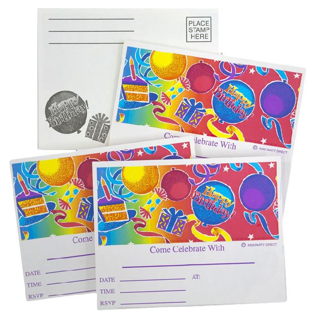 Birthday Fun Postcard Invitations - 3000/Case or 250/Pack