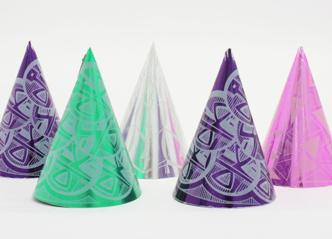 Foil Party Cone Hats, Assorted Colors - 5/Pack