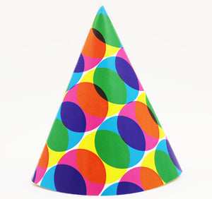 Party Hats with Colorful Circles - 25/Pack