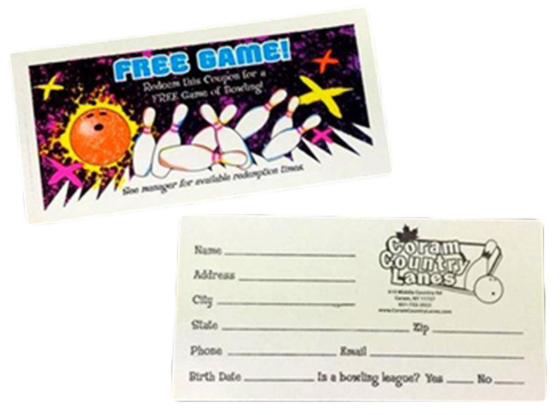 Cosmic Glow Bowling Free Game Coupon with Custom Imprint