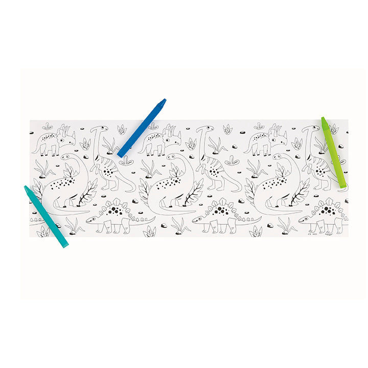 Paper Dinosaur Coloring Table Rolls & Crayons - 3CT or 6/Pack