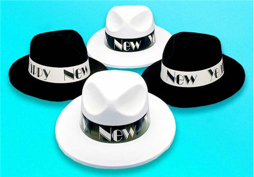 Happy New Year Flocked Fedoras