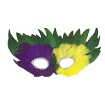 Mardi Gras Feather Mask with string - 12/Pack