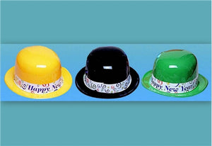 Happy New Year Plastic Derby Style Hat - 50/Box