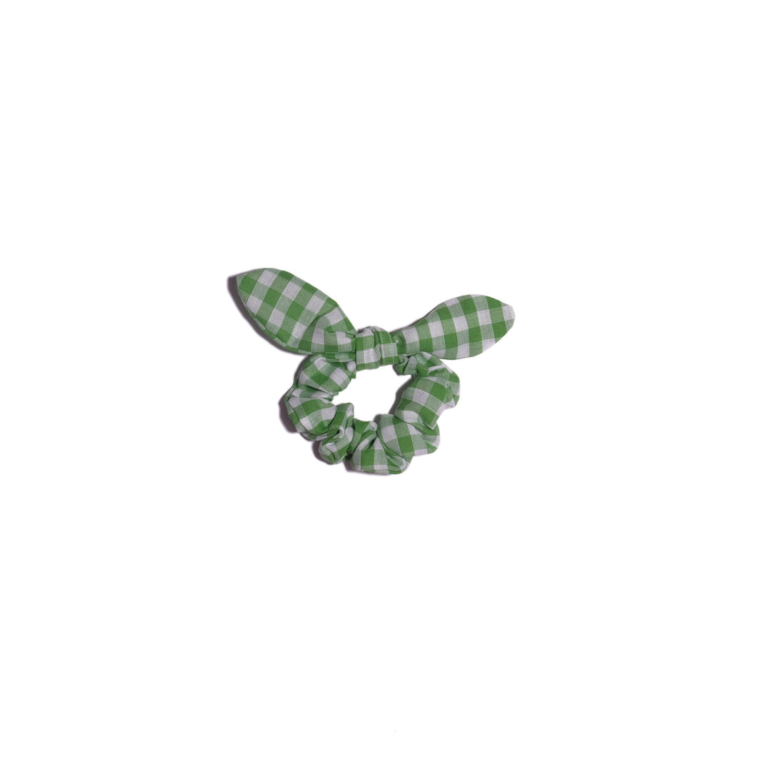 bunny ear scrunchie, lime gingham fabric