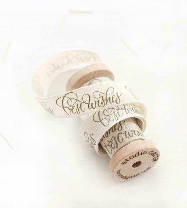 Best Wishes Calligraphy Ribbon Spool