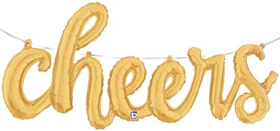 cheers Script Foil Balloon, Gold