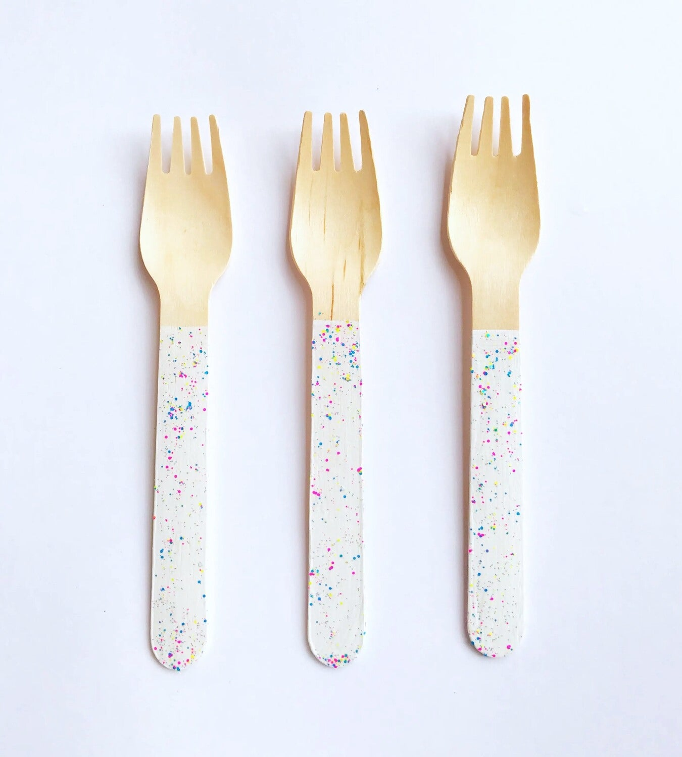 Party Forks White Paint Splatter
