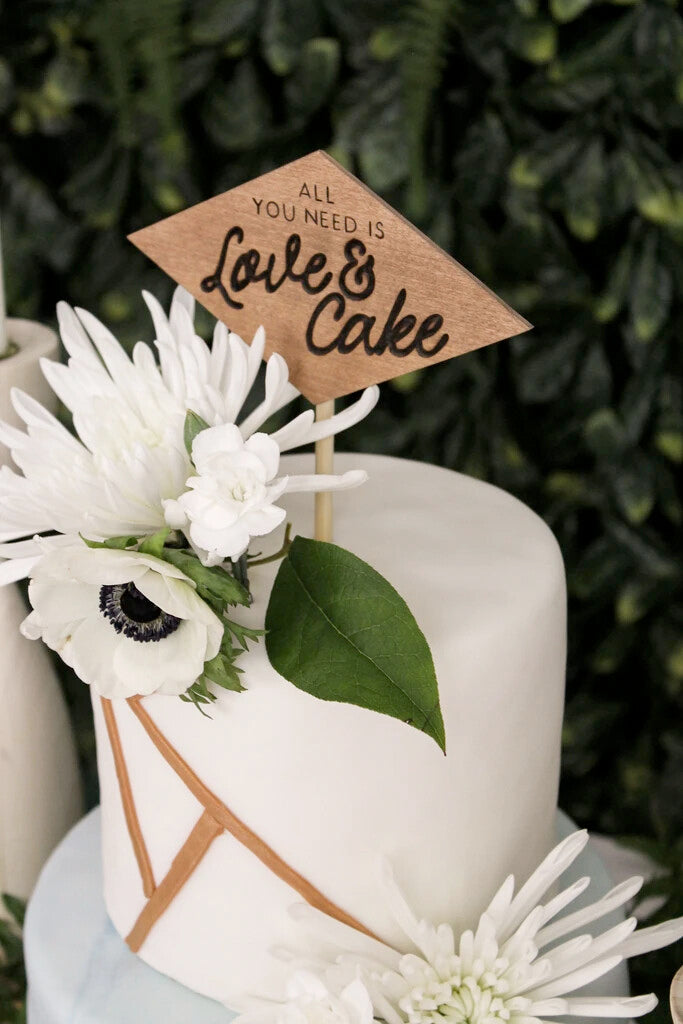 Wood Cake Topper - Love & Cake