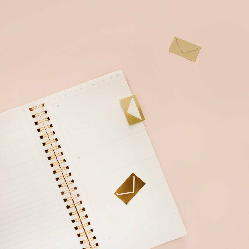 Small Envelope Paperclips, Matte Gold