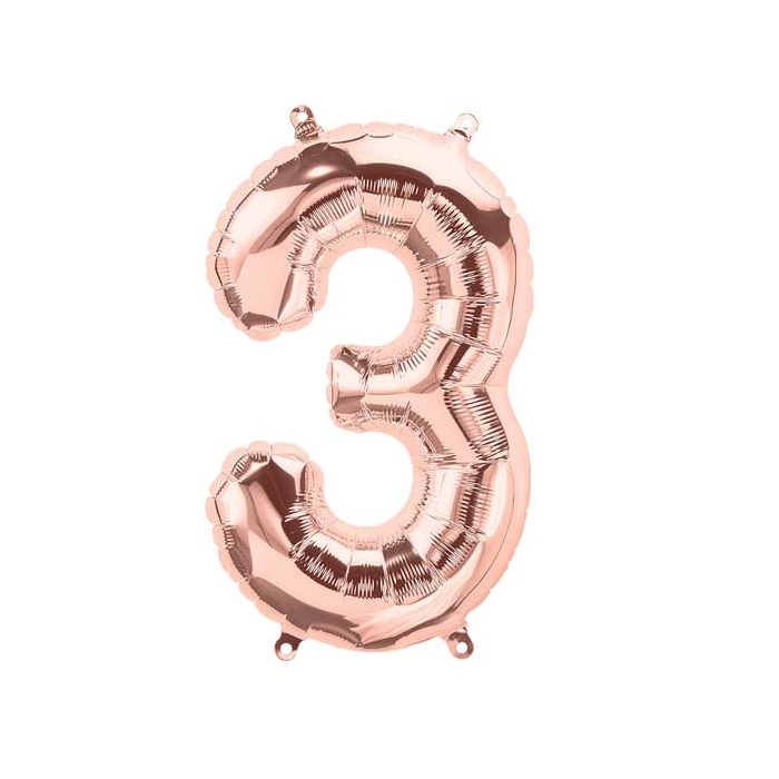 Number 3 Rose Gold Balloon