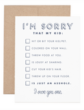 I'm Sorry...Asshole Kid Greeting Card