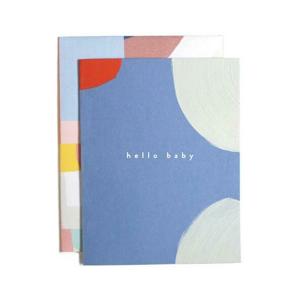 Hello Baby Blue White & Red Greeting Card