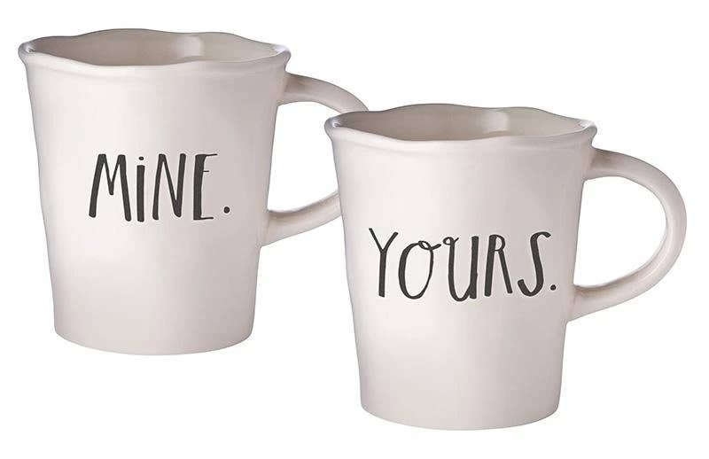 Rae Dunn Stem Print Mine + Yours Cafe Mugs - Set of 2