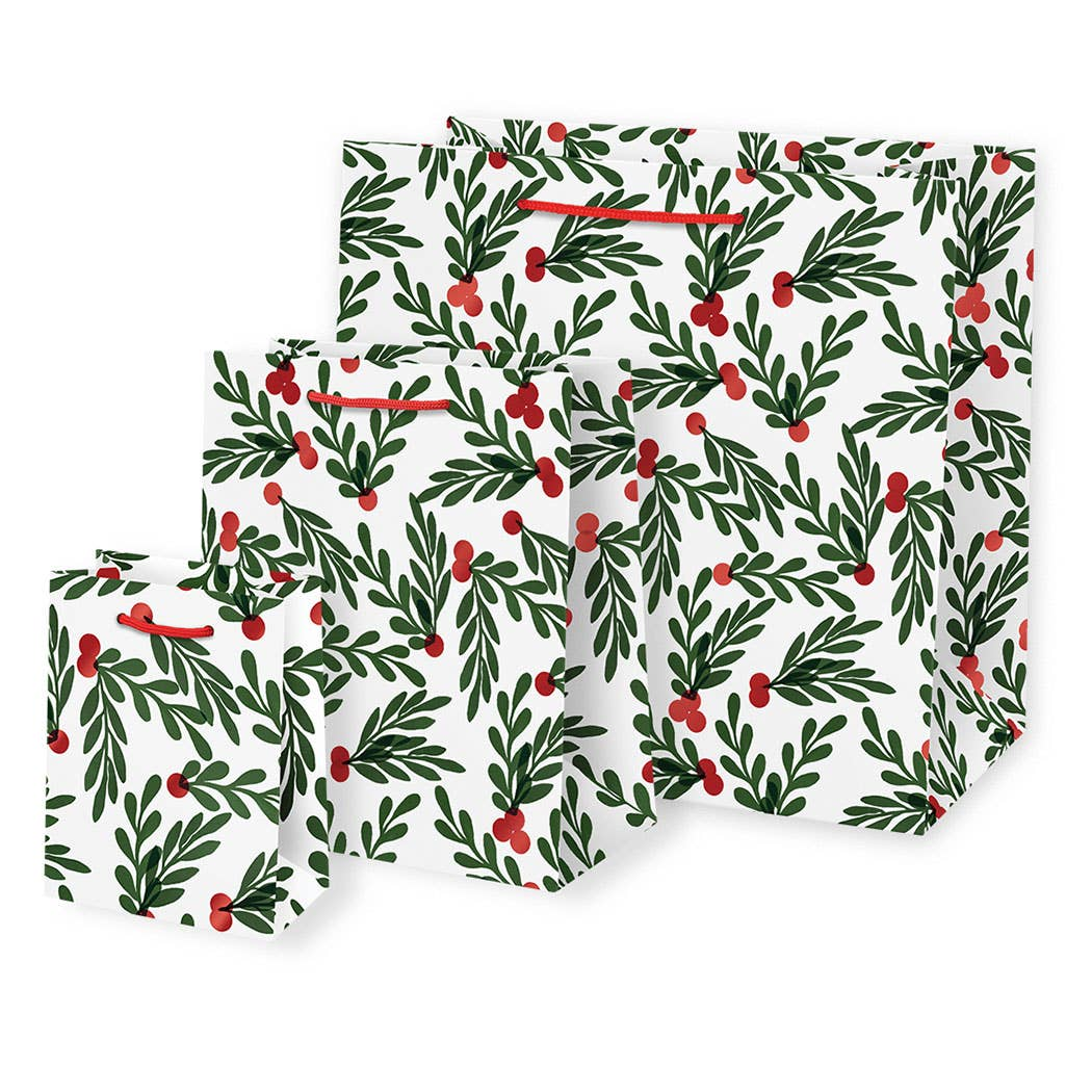 Red Berries with Leaves Gift Bags - Medium