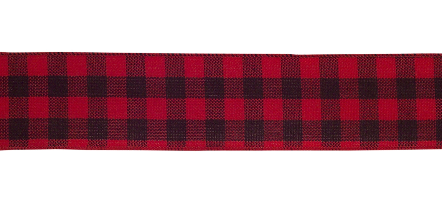 Red & Black Check Wired Ribbon