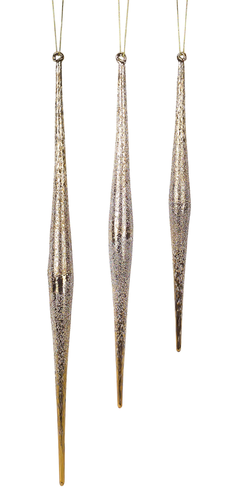 Gold Icicle Ornaments, Set of 3