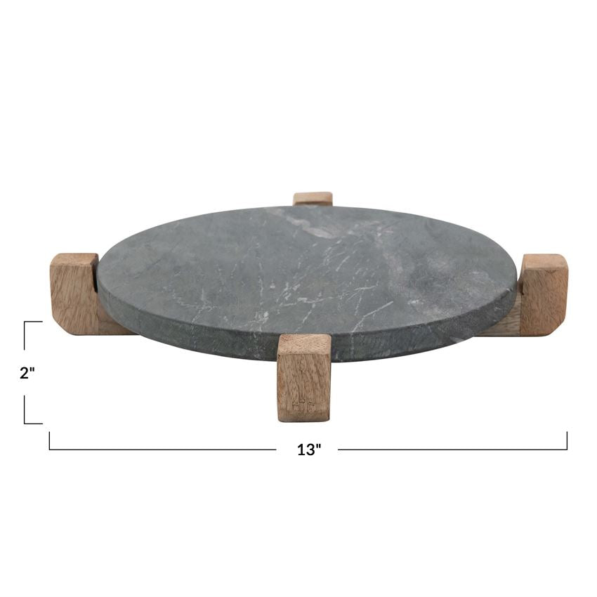 Black Marble Server with Wood Stand
