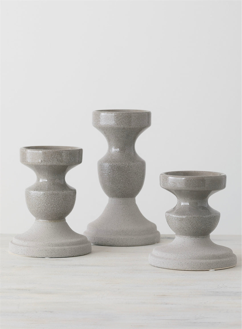 Chelsea Grey Pillar Holders