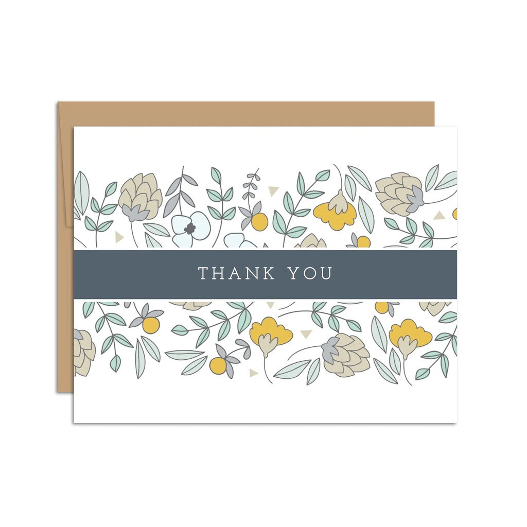 Thank You Card Florals w/ Blue Band Boxed Notes
