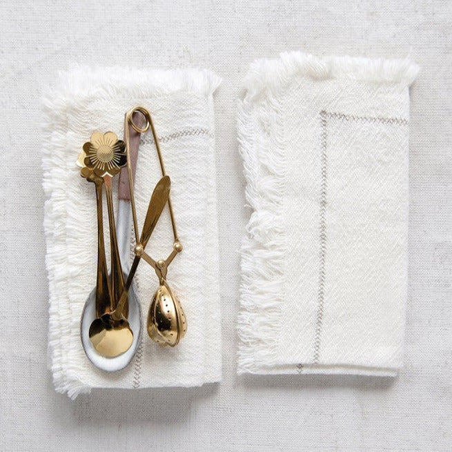 Woven Napkins w/Stitching Detail & Fringe, Set/4